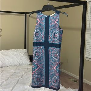 Loft dress Ann Taylor paisley shift xs pink navy